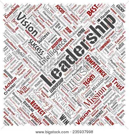 Conceptual business leadership strategy, management value square red word cloud isolated background. Collage of success, achievement, responsibility, intelligence authority or competence poster