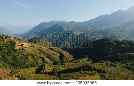 Landscape With Scenic Mountains And Green Vegetation On Hills At Sa Pa, Vietnam