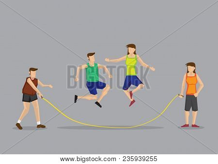 Two Holding Skipping Rope And Two Skippers Jumping Over The Rope. Cartoon Vector Illustration On Fun