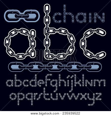 Vector Type Font, Script From A To Z. Lower Case Creative Letters, Abc Made With Iron Chain, Linked
