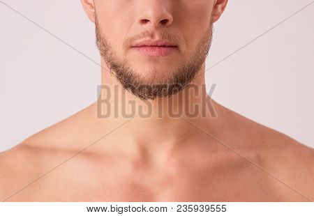 Close up of attractive young man's half face isolated over white background. Portrait of bearded hipster's upper body and mouth. Masculinity and charisma of handsome man. Male's beauty concept