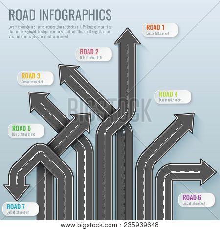 Infographics Template With Road Map. Top View Vector Elements. Road Trip. Business And Journey Infog