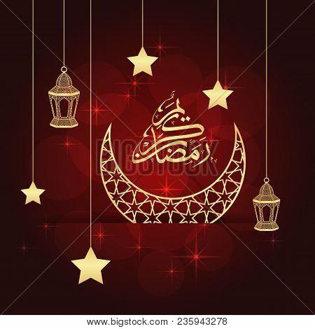 Ramadan Greeting Card On Red Background. Vector Illustration. Ramadan Kareem Means Ramadan Is Genero