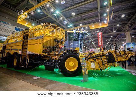 Moscow- October 05, 2016: Sugar Beet Harvester Tiger 6 Of The European Company Ropa At The Internati