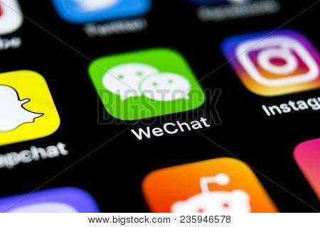 Sankt-petersburg, Russia, April 12, 2018: Wechat Messenger Application Icon On Apple Iphone X Smartp
