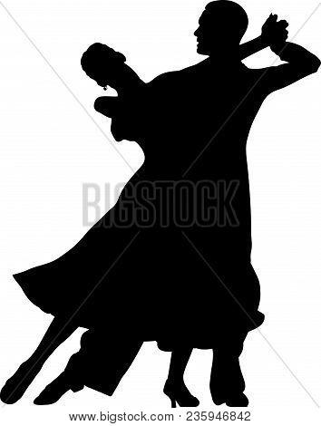 Ballroom Dancing Black Silhouette Pair Women And Men Dancer