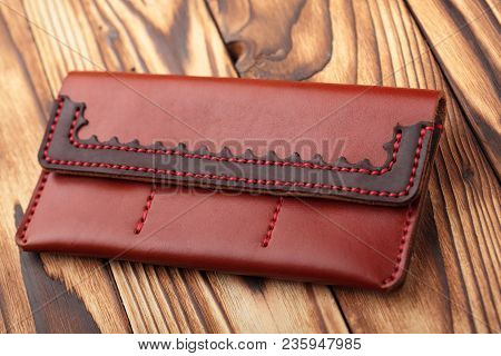 Brown Leather Wallet.genuine Leather Craft Object With Tool Using For Wallet.diy Tools.hand Crafted