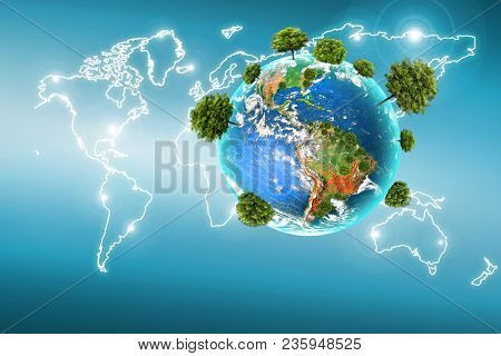 Ecological concept of the environment with the cultivation of trees . Planet Earth. Physical globe of the earth. Elements of this image furnished by NASA. 3D illustration