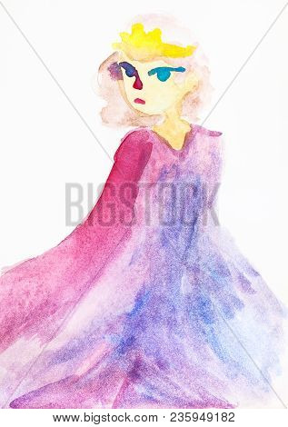 Hand Drawn Training Picture - Girl With Yellow Hair In Pink Long Cloak By Watercolours On White Pape