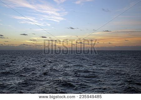 The Atlantic Ocean. Expanses. Sky Clouds. A Game Of Sunlight. Sunrise