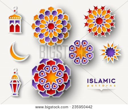 Set Of Ramadan Kareem Islamic Geometric Patterns. Paper Cut Flowers, Traditional Lanterns, Moon And