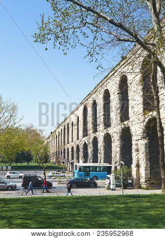 Istanbul, Turkey - April, 07, 2016, Valens Aqueduct (