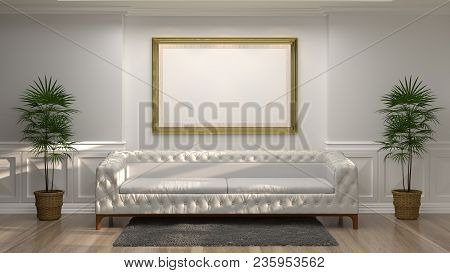 Mock Up Empty Golden Photo Frame With White Sofa In Front Of Empty White Wall Decorative Items Minim