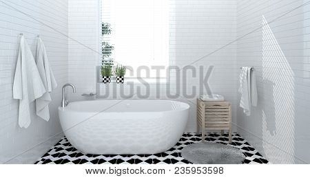 Bathroom Interior,toilet,shower,modern Home Design 3d Rendering For Copy Space Background White Tile