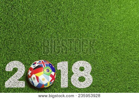 Soccer game 2018 in Russia with many flags on soccer ball (3D Rendering)