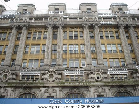 Front Exterior Facade Of The Former Cook County Hospital Building, Chicago, Il September 12, 2008