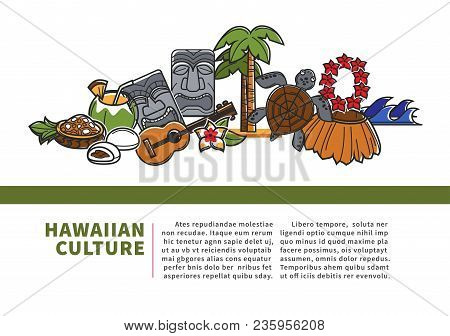 Hawaiian Culture Promotional Informative Banner With Sample Text. Local Musical Instrument, Authenti