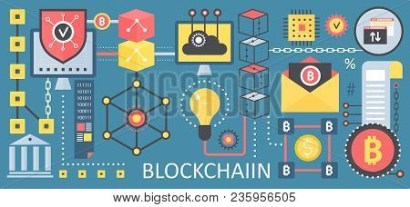 Bitcoin, Cryptocurrency And Blockchain Network Technology Concept Icons. Vector Blockchain Poster