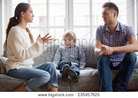 Frustrated Little Boy Son Scared With Mom And Dad Fighting At Home, Sad Stressed Child Suffers From
