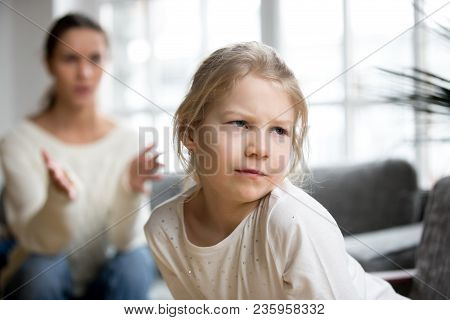 Sulky Angry Offended Kid Girl Pouting Ignoring Mother Scolding Her For Bad Behavior, Stubborn Insult