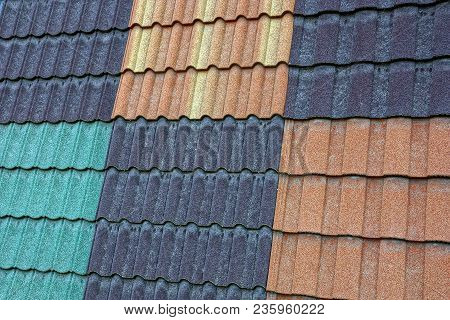 Texture Of Colored Tile On The Roof Of The Building