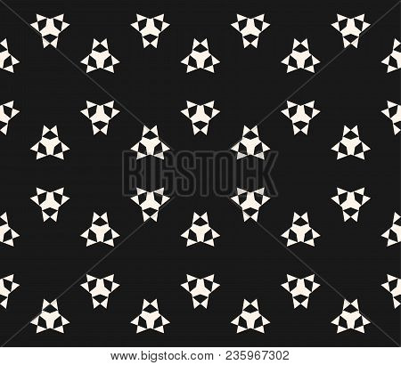 Vector Seamless Pattern With Simple Geometric Figures, Triangles, Sharp Shapes. Abstract Monochrome