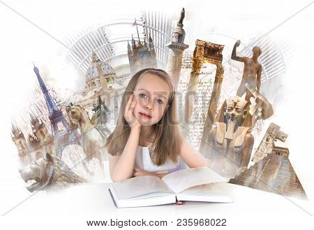 Pretty English Girl With Books, Studying. English Educational Concept Image With Symbols Of Human  H