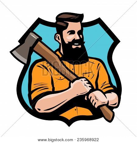 Sawmill, Joinery Lumberjack Holding An Axe His Hands