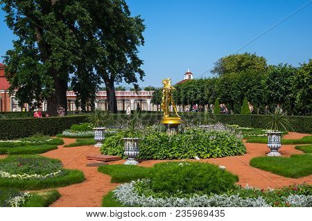 Saint- Petersburg, Russia - July 11, 2016: The Monplaisir Palace In The Lower Garden Of Petrodvorets