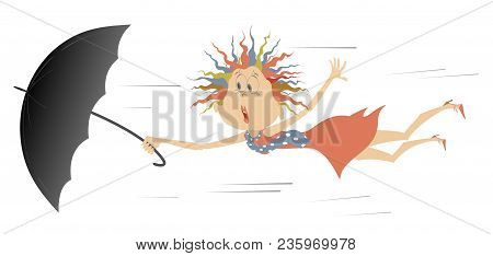 Strong Wind, Young Woman And Umbrella Isolated Illustration. Comic Frightened Woman In The Red Dress