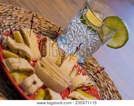 Dish With Wrap Appetizers And Lemon Water