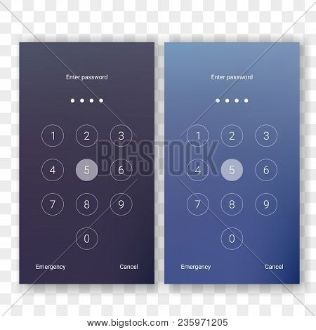 Screen Lock Authentication Password Smartphone Background Template. Vector Phone Id Recognition Scre