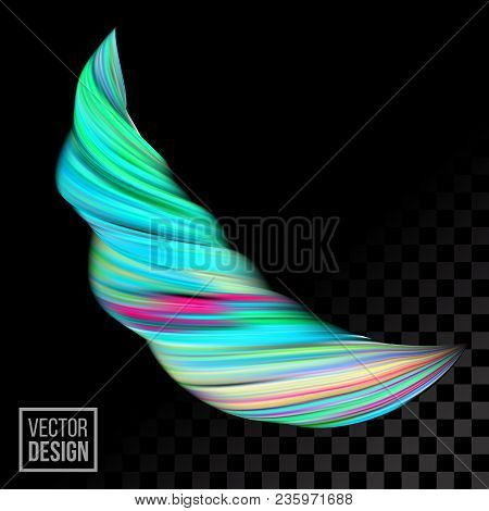 Modern Vector Digital Painting Abstract Background. Creative Vivid 3d Flow Fluid Paint Wave. Trendy