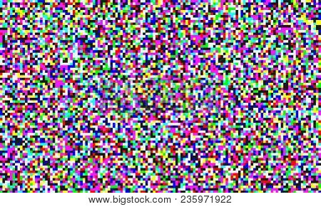 Tv Pixel Noise Of Analog Channel Grain Screen Seamless Background. Vector Glitch Effect Of Video Sno