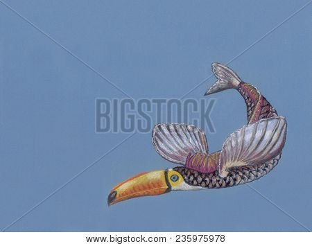 A Hand-made Art Work Of A Fantastic Animal Drawn By Soft Pastel. The Animal Has A Head Of A Toucan A