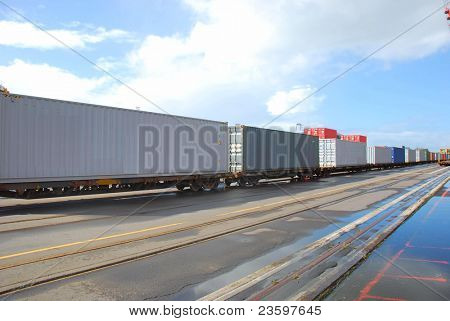 container on rail to ship yard