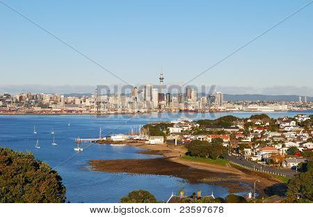 Devonport beach with Auckland skyline background