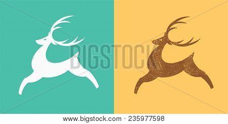 Jumping Deer. Silhouette Of Stylized Deer. Textured Version Deer Logo Template. Vector Illustration.