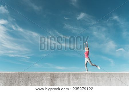 Active, Inspired Young Girl Runs In The Open Air, Works Hard, Wants To Lose Weight