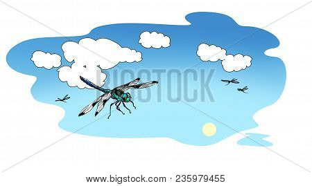 Blue-green dragonflies fly against the background of the summer sky with white cumulus clouds. Raster illustration poster