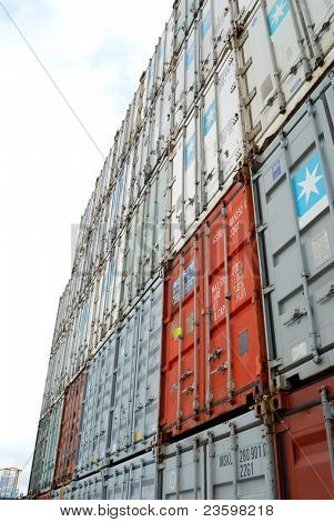 Stacks of  containers at port