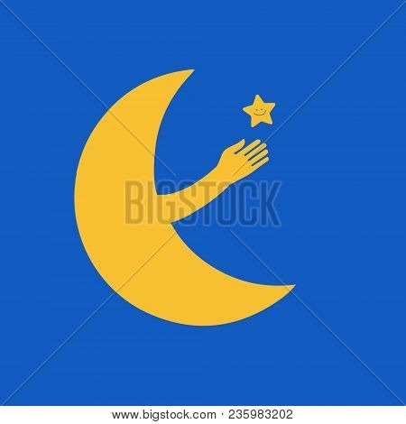 Vector Illustration Of Icon Moon And The Star In The Style Of Flat. Vector Moon. New Moon Plays With