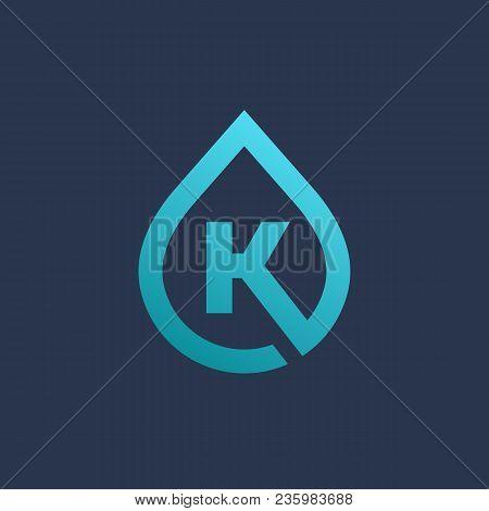 Letter K Water Drop Logo Icon Design Template Elements