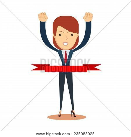 Concept Of Successful Businesswoman In A Finishing Line. Businessman Victory Run Toward Red Ribbon T