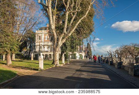 Rome, Italy - March 19, 2018: Casina Valadier Restaurant In Villa Borghese Park In Rome, Italy