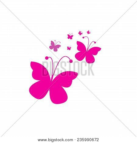 Exotic Butterfly Vector Icon On White Background