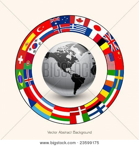 Business background, ring of flags around earth, vector