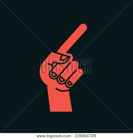 Gesture. Direction Sign. Stylized Hand With Index Finger Up, Thumb Bent. Icon. Showing Course. Vecto