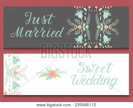 Wedding Invitation Card Vector Save The Date Suite With Flower Templates Day Marriage Handmade Lette