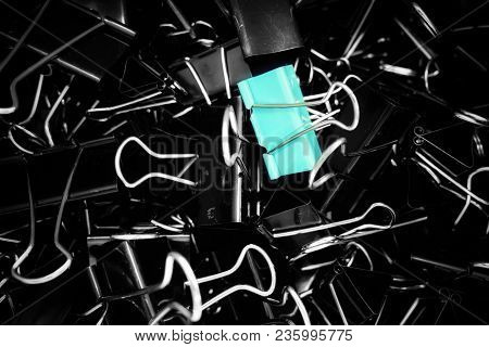 A Color Binder Clip ,multi Binder Paper Clip Backgtound In Black And White Style.